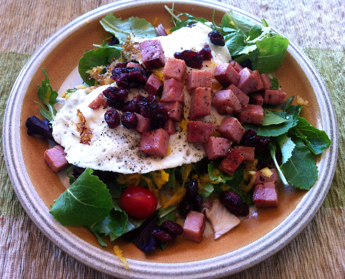 Salad with Fried Eggs, Ham and Dried Cranberries