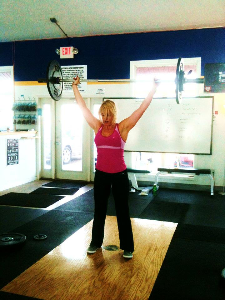 """55 lbs overhead """"Snatch"""" - I did 30 of these at 45lbs, and 30 at 55 lbs. Let's hear it for the moms over 40!"""